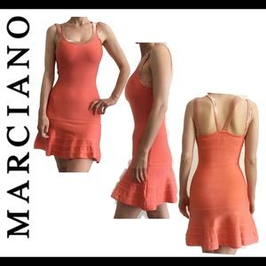 Marciano Coral Beaded Fit & Flare Bandage Dress